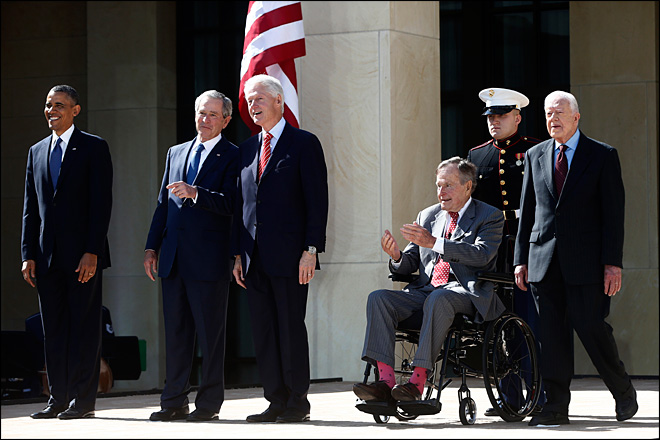 Politics on hold as 5 presidents dedicate Bush library