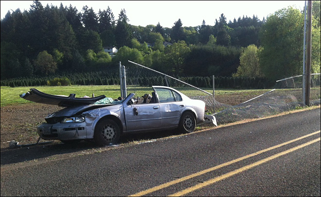 Teen driver impaled by piece of fence in Salem car crash