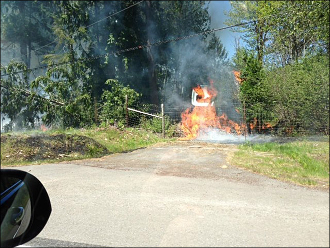 Photo by Shawn Litson, a KVAL viewer who was near McKenzie Bridge shortly after the fire started.