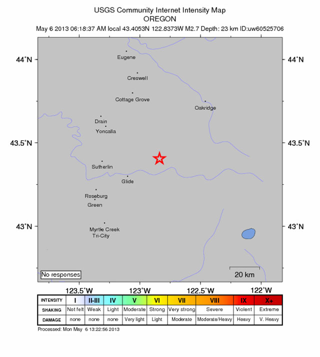 2.7 quake shakes east of Roseburg