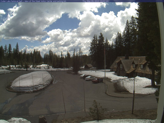 Crater Lake parking lot webcam May 9, 2013