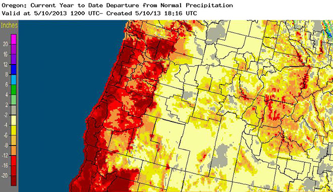 Oregon departure from normal precipitation YTD 2013