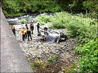 Man found dead inside a flipped car on the Thomas Creek riverbank