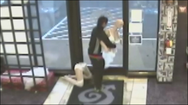 Watch: Man steals adult-store mannequin, returns for 'her' sexy lingerie
