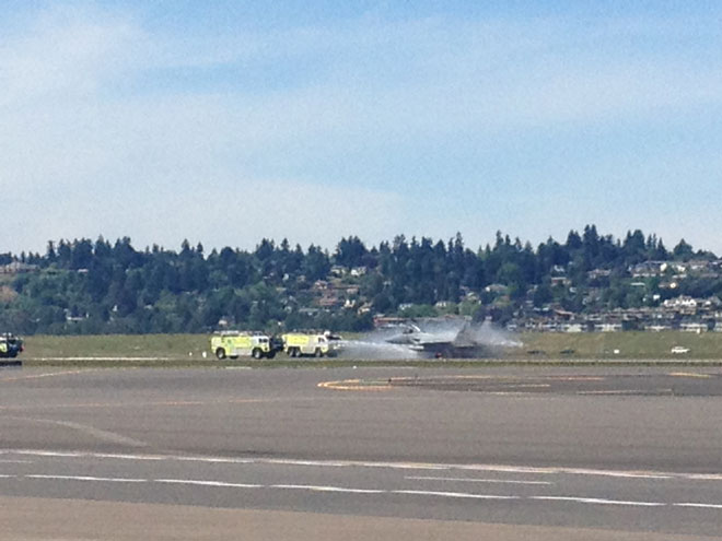F-15 loses brakes and blows out tires while landing at PDX