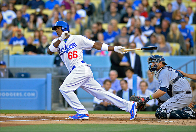 Lights, camera, action: Dodgers' Puig stars in LA