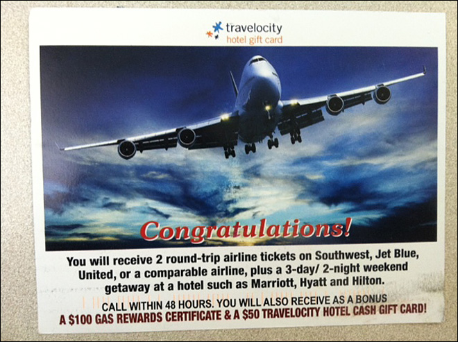 New mailer promises round-trip plane tickets -- with a catch