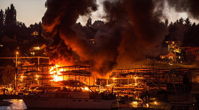 Fireworks ignite blaze that destroys 14 boats along Lake Union