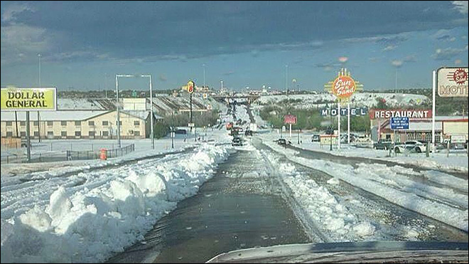 Massive storm dumps nearly 2 feet of hail in New Mexico