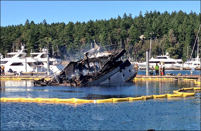 85-foot luxury yacht gutted by flames at Roche Harbor