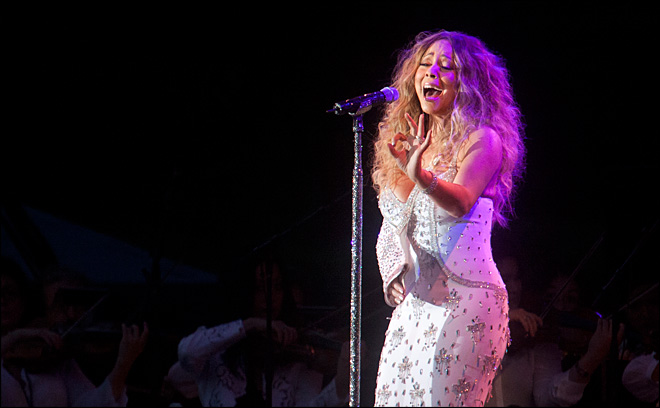 Injured Mariah Carey performs at Sandy charity show