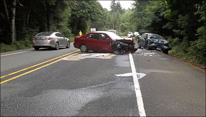 Six people hurt in head-on crash along Highway 26
