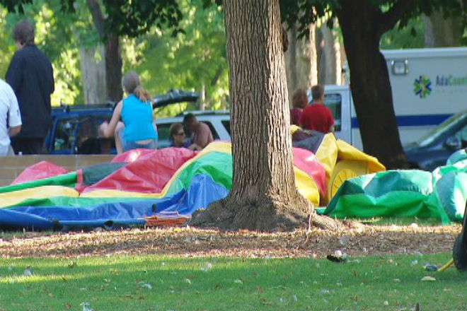 Bounce house explodes, injures children
