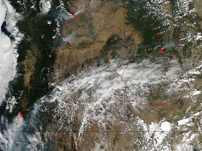 NASA satellite image of smoke Monday, July 29, 2013