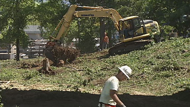 Crews clearing area for new skatepark