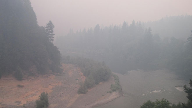 Forest fire smoke and the Rogue River