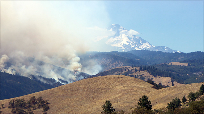 Fires burning near The Dalles threaten water treatment facility