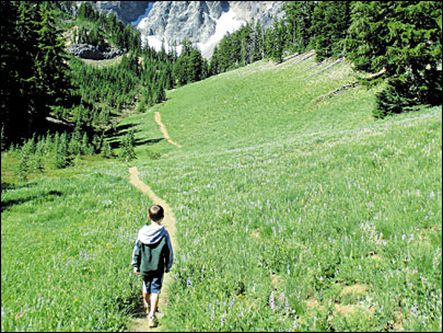 A father-son hike to a magical meadow in the Cascades