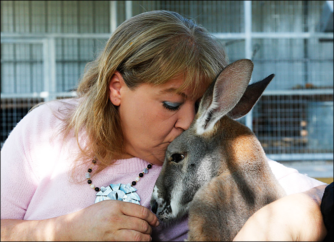 Okla. woman, pet kangaroo find new home