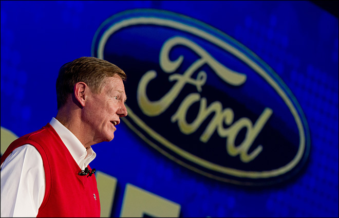 Ford stock up, Microsoft down on Mulally news
