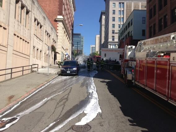 Car fire in Downtown Seattle