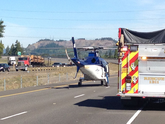 Air ambulance on I-5