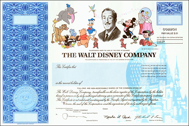 Disney stock certificates off to Never Never Land