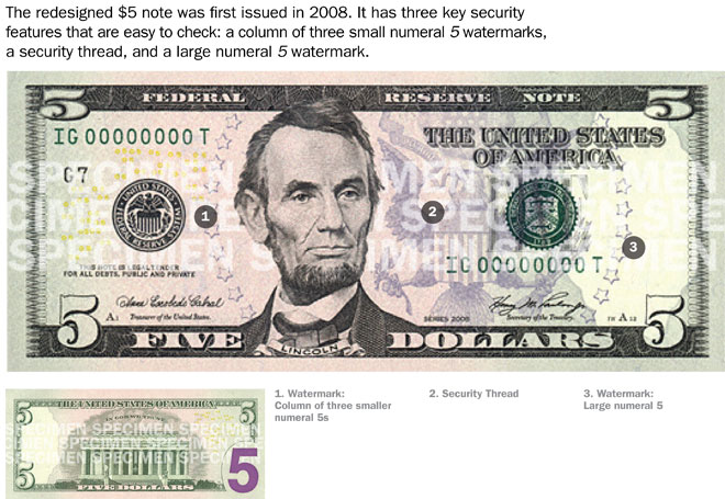 Security features of $5 bill