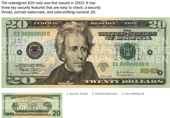 Security features of $20 bill