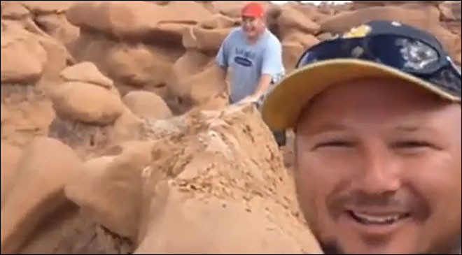 Men destroy 170 million-year-old rock formation, then celebrate