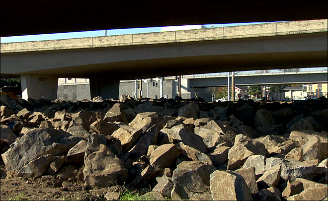 ODOT rolls in boulders in hopes of keeping homeless campers away