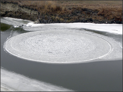 Unusual ice circle forms in North Dakota river