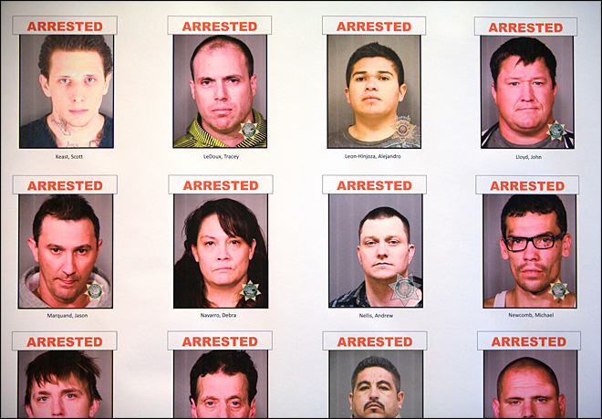 Police net 40 arrests, 8 pounds of meth in white supremacist gang crackdown