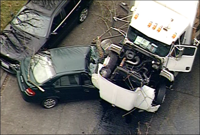 Runaway box truck slams into 5 cars in Seattle neighborhood