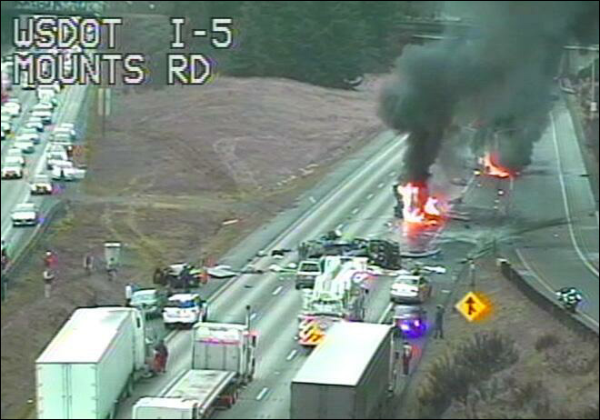 Semi driver killed in fiery I-5 crash near Lewis-McChord