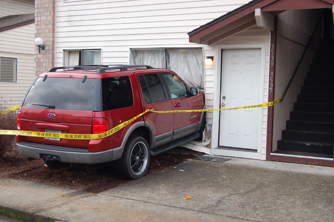 Driver crashes SUV into neighbor's apartment
