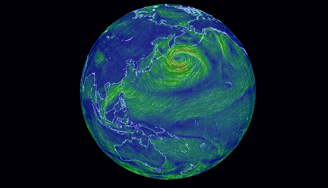 Interactive web site allows you to easily visualize Earth's wind patterns