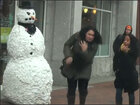 Scary snowman prank strikes fear in shoppers