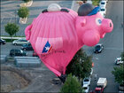 Pilot saves own bacon, glides pig-shaped balloon after crash