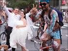 3,000 Philly Naked Bike Riders photo-bomb wedding shoot