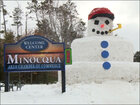 Town builds massive snowman