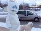 Abominable snowman takes dog for a walk