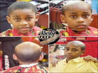 A barber gives misbehaving kids 'old man' haircuts