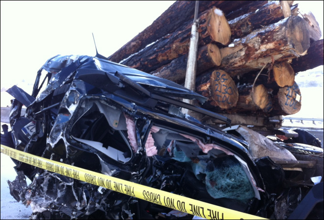44 vehicles, log truck involved in massive I-84 crash: 'A war zone'