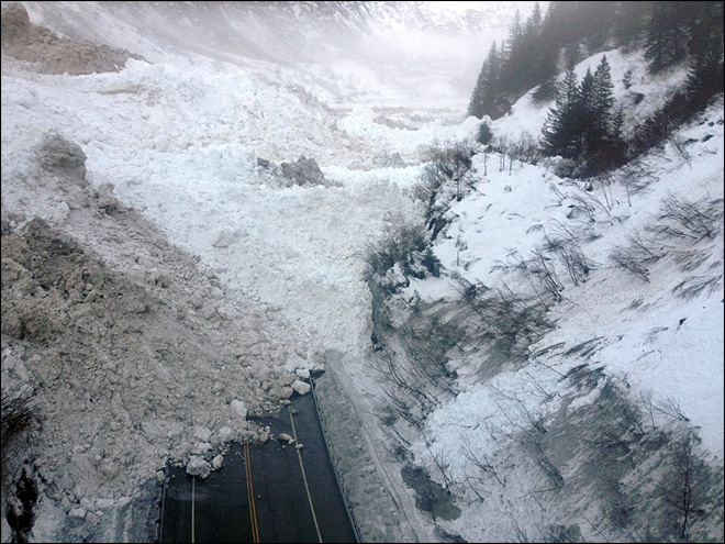 Avalanches cut off only road to Alaska city