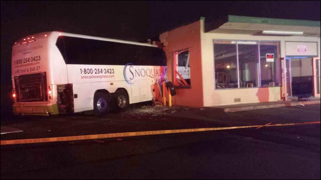 Driver seriously hurt as casino bus crashes into building
