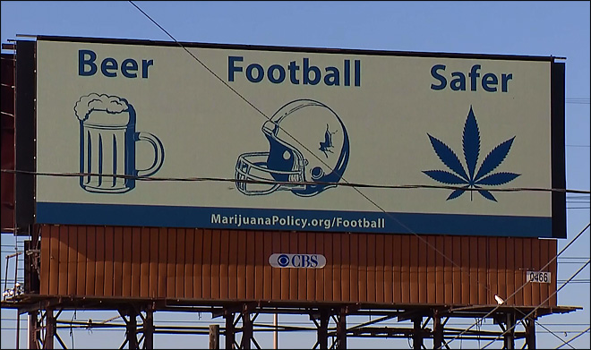 Super Bowl pot billboards shine light on NFL policy