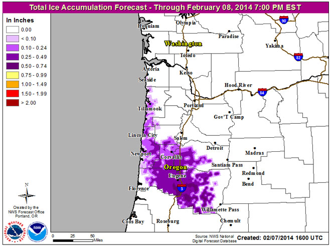 Ice accumulation forecast for Friday, Feb. 7