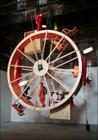 NYC performance artists live on 'human hamster wheel'