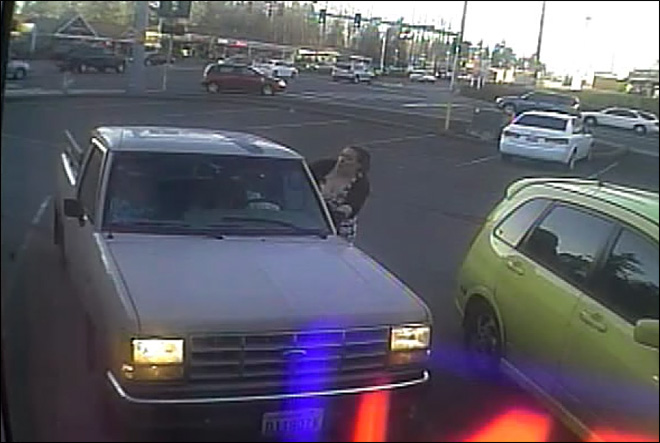 Video shows desperate scene as woman steals truck with kids inside